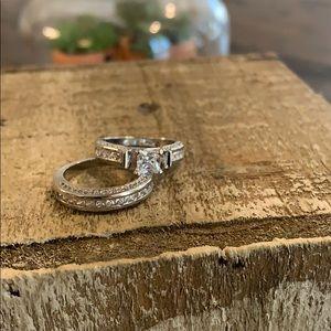 Sterling silver wedding set super cute silver